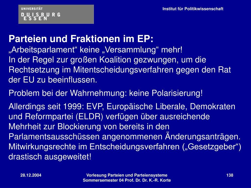 Parteien und Fraktionen im EP:
