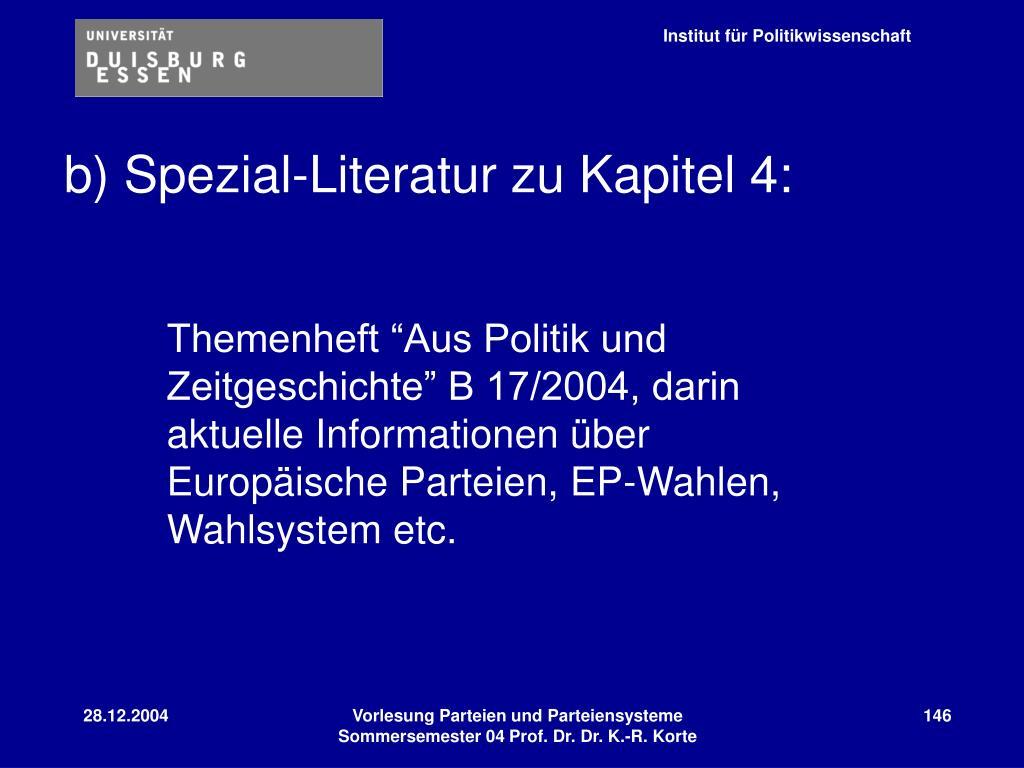 b) Spezial-Literatur zu Kapitel 4: