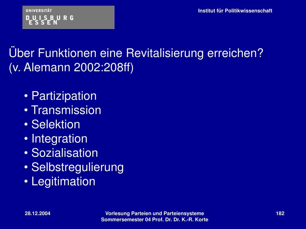 Über Funktionen eine Revitalisierung erreichen?