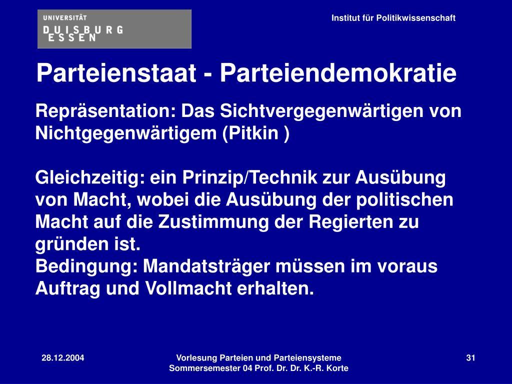 Parteienstaat - Parteiendemokratie