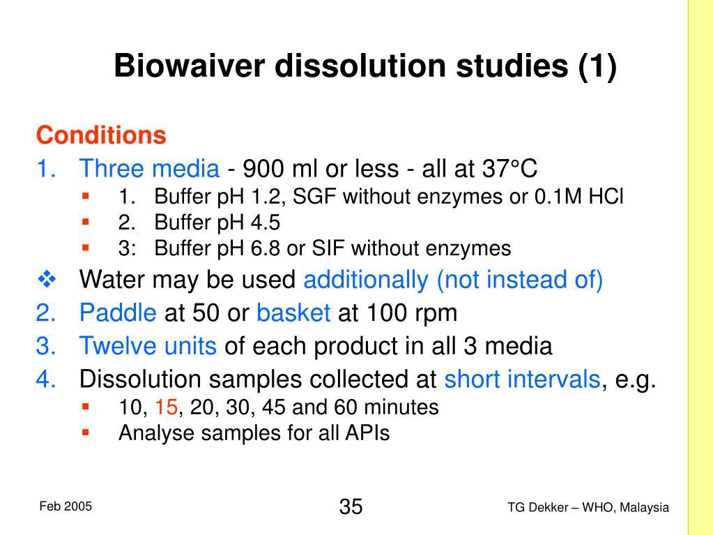 Biowaiver dissolution studies (1)