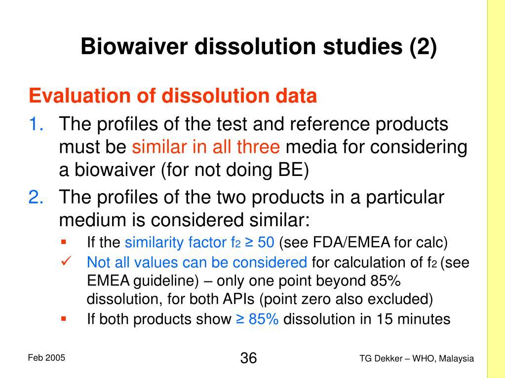 Biowaiver dissolution studies (2)