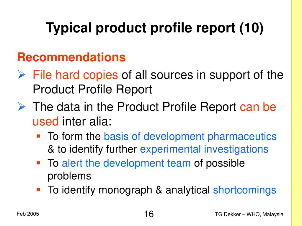 Typical product profile report (10)
