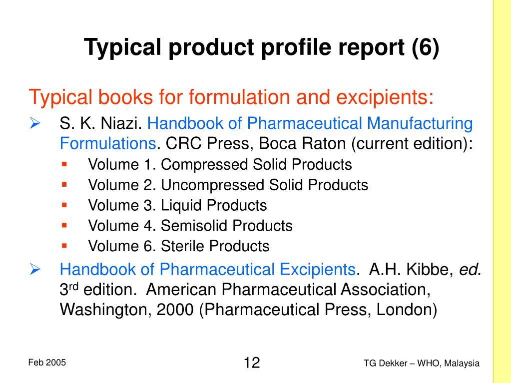 Typical product profile report (6)