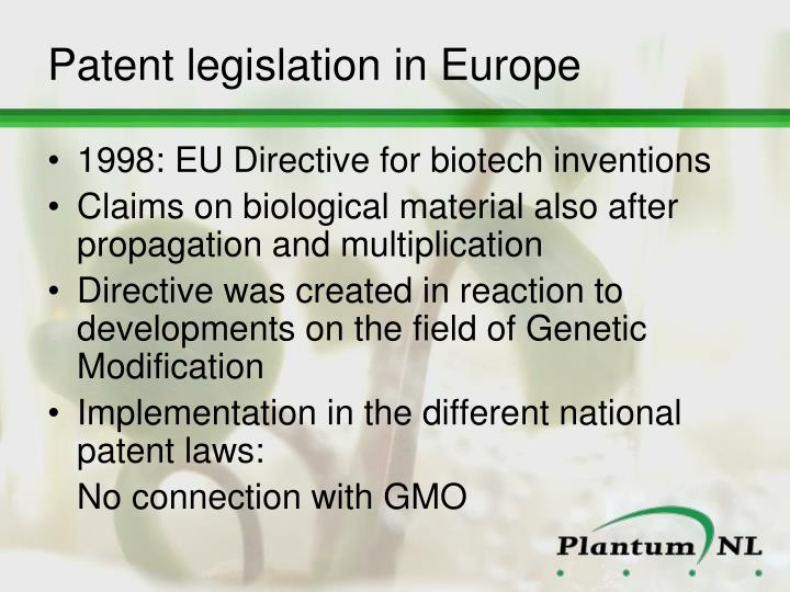 Patent legislation in Europe