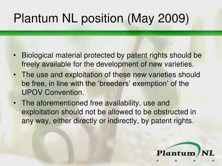 Plantum NL position (May 2009)