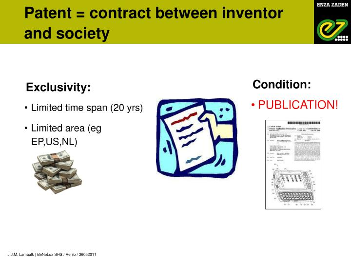 Patent = contract between inventor