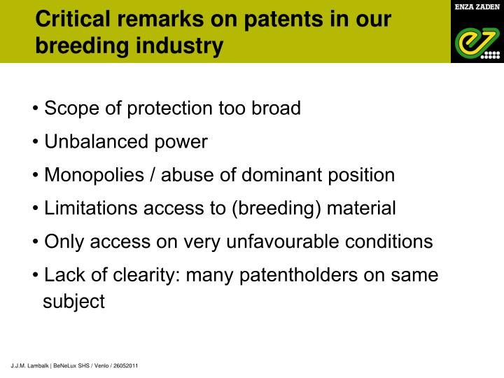 Critical remarks on patents in our