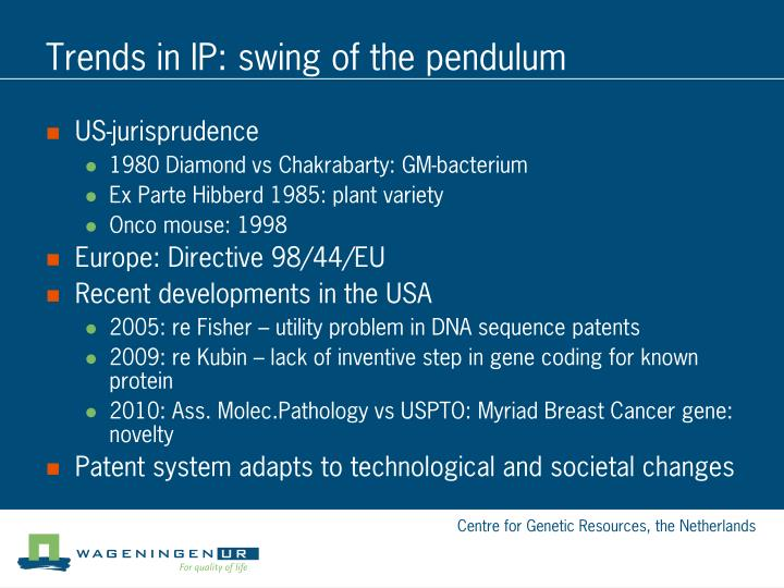 Trends in IP: swing of the pendulum