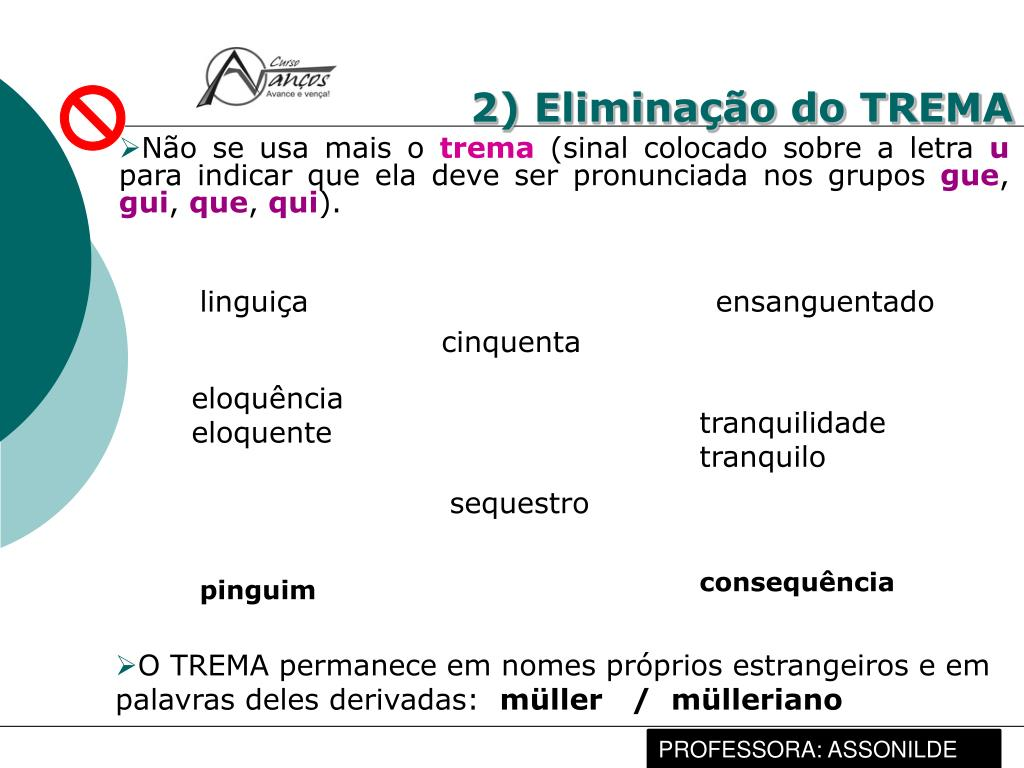 2) Eliminação do TREMA