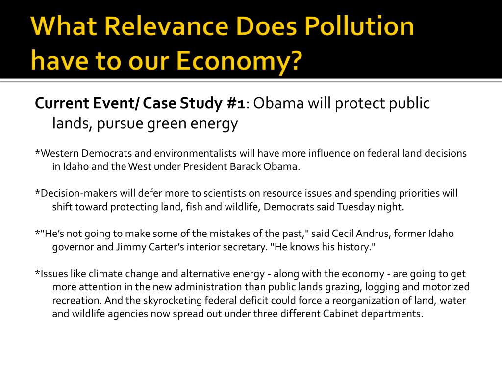 What Relevance Does Pollution have to our Economy?