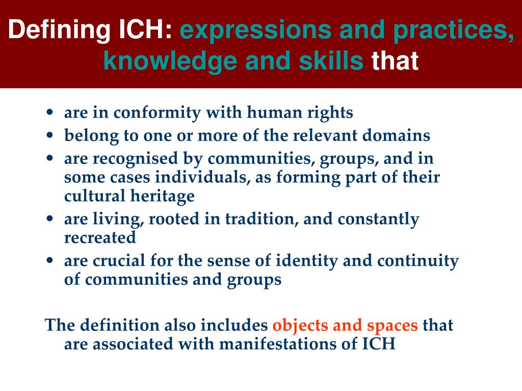Defining ICH: