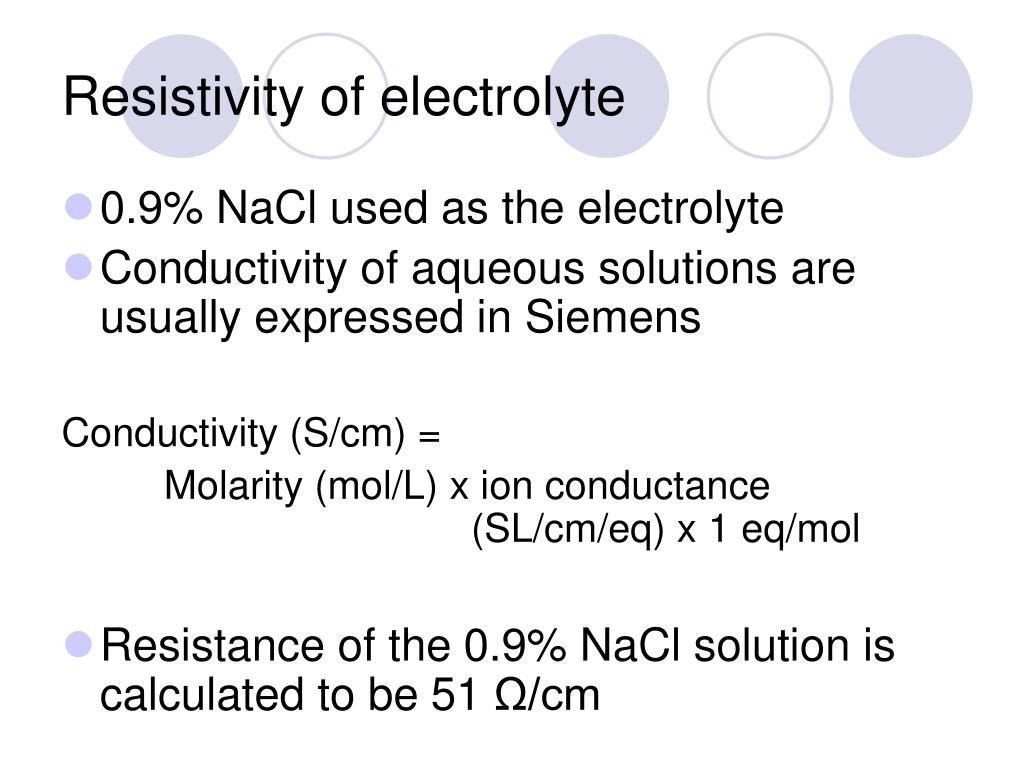 Resistivity of electrolyte