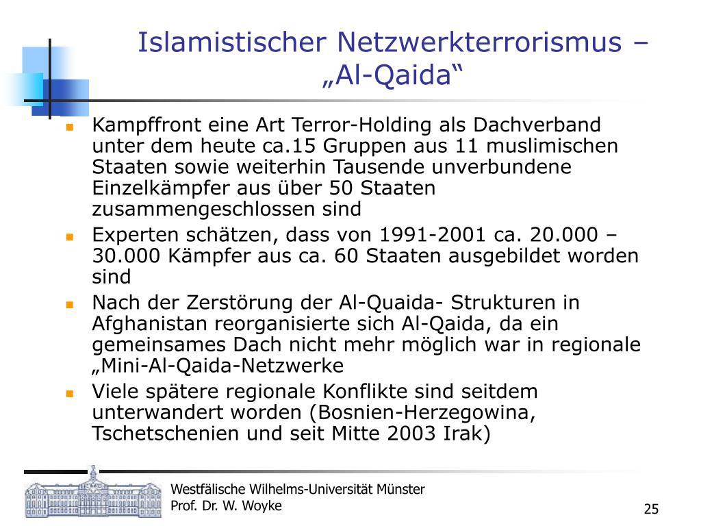 """Islamistischer Netzwerkterrorismus – """"Al-Qaida"""""""