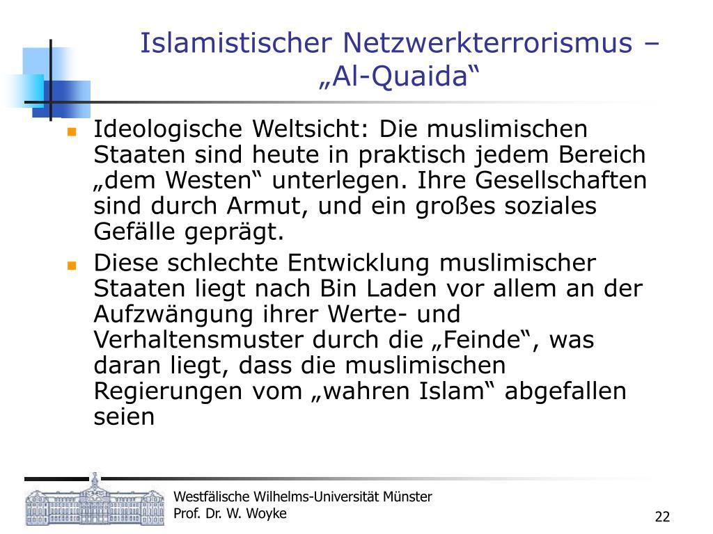 """Islamistischer Netzwerkterrorismus – """"Al-Quaida"""""""