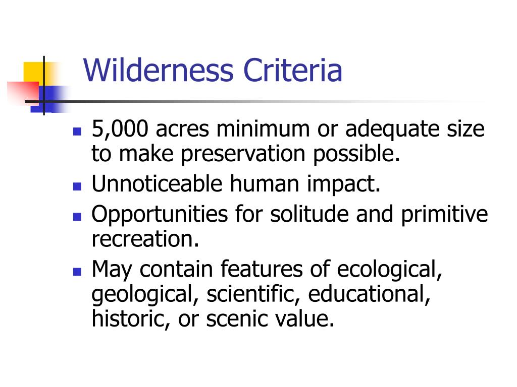 Wilderness Criteria