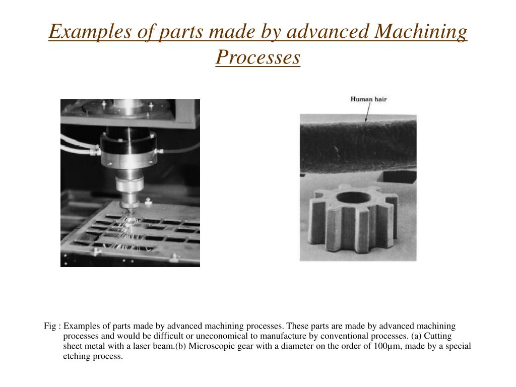 Examples of parts made by advanced Machining Processes