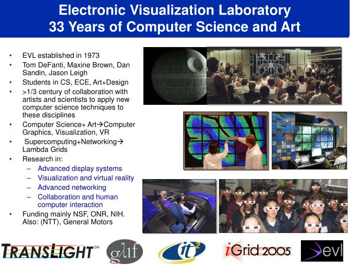 Electronic visualization laboratory 33 years of computer science and art l.jpg