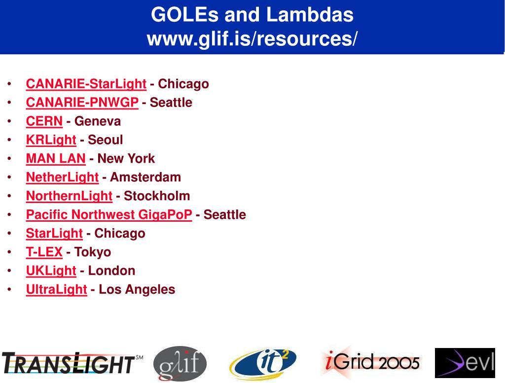 GOLEs and Lambdas