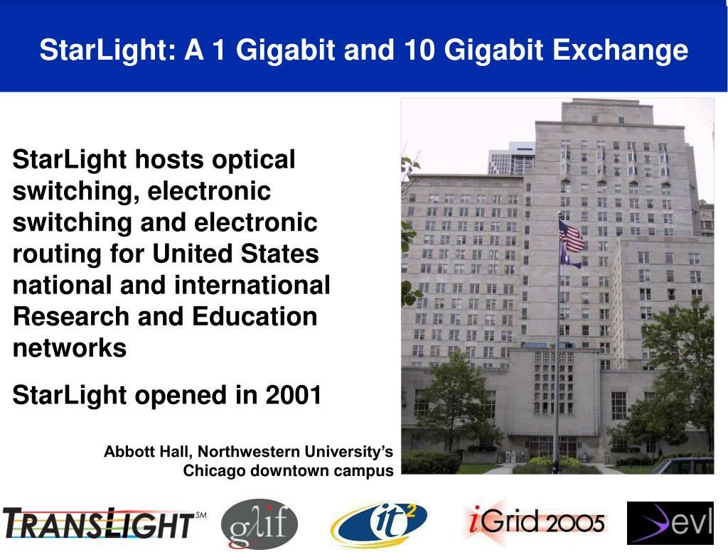 StarLight: A 1 Gigabit and 10 Gigabit Exchange