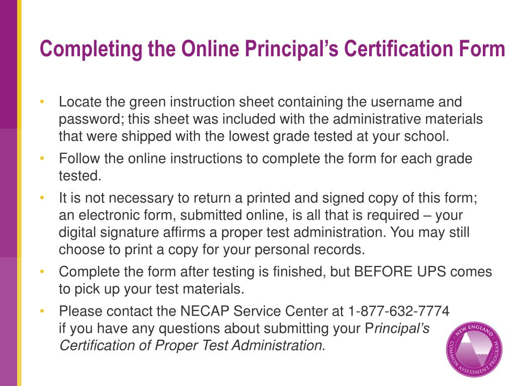 Completing the Online Principal's Certification Form