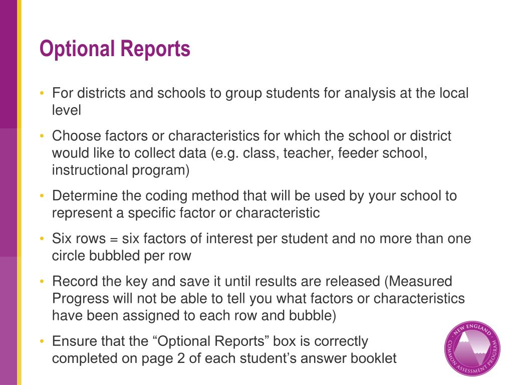 Optional Reports