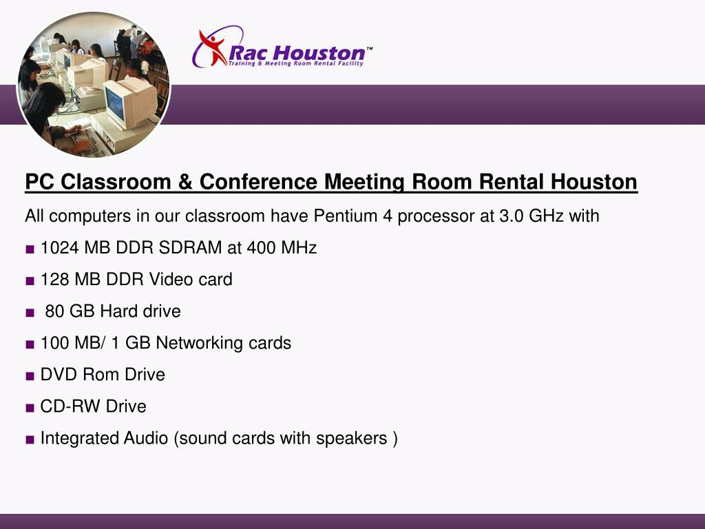 PC Classroom & Conference Meeting Room Rental Houston