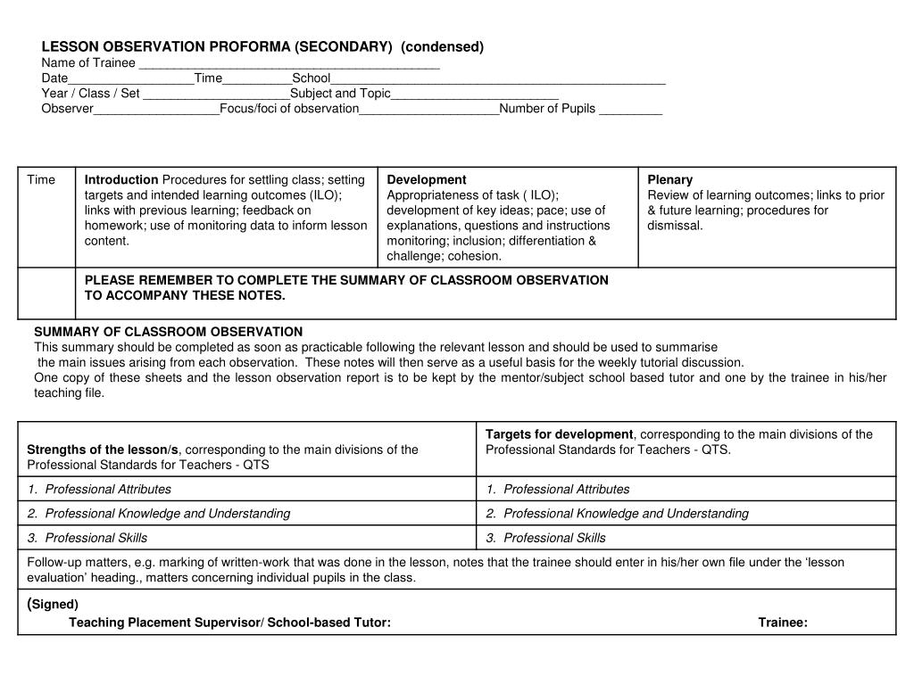 LESSON OBSERVATION PROFORMA (SECONDARY)  (condensed)