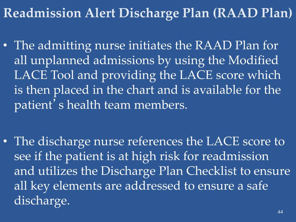 Readmission Alert Discharge Plan (RAAD Plan)