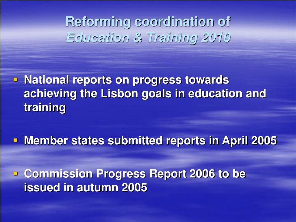 Reforming coordination of