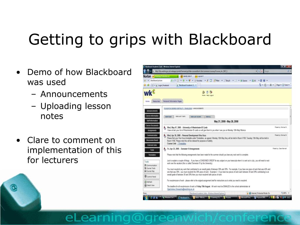 Getting to grips with Blackboard