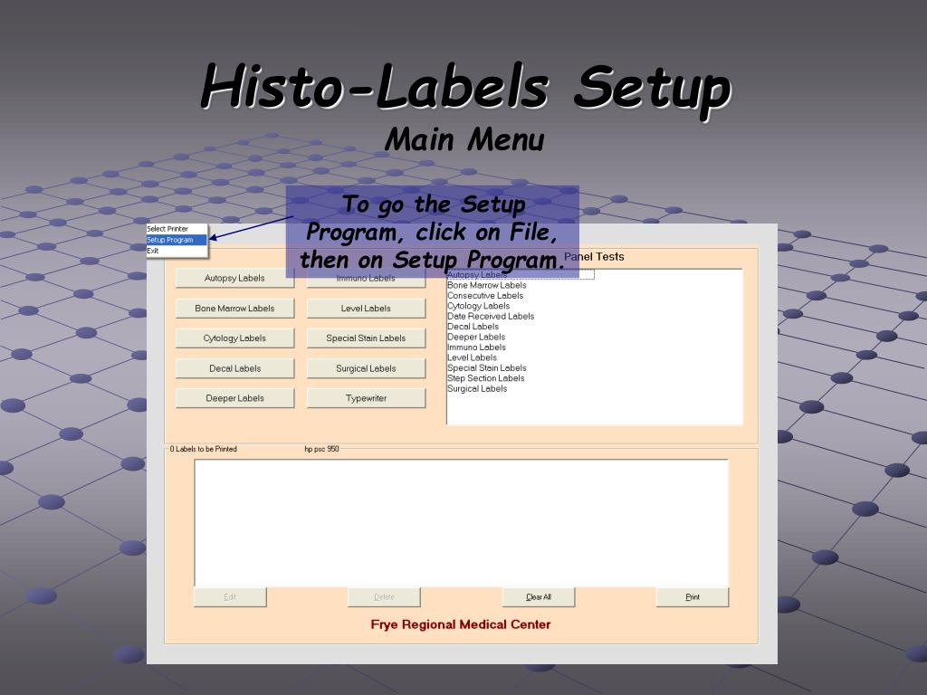 Histo-Labels Setup