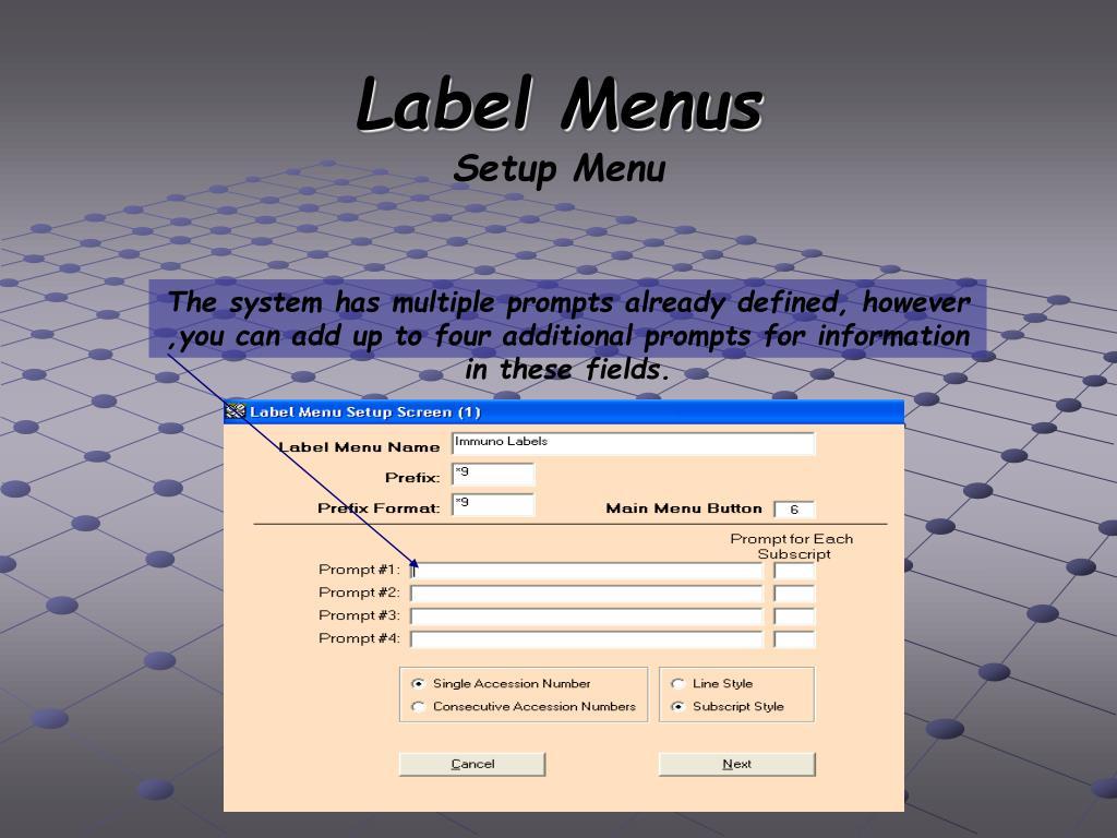 Label Menus
