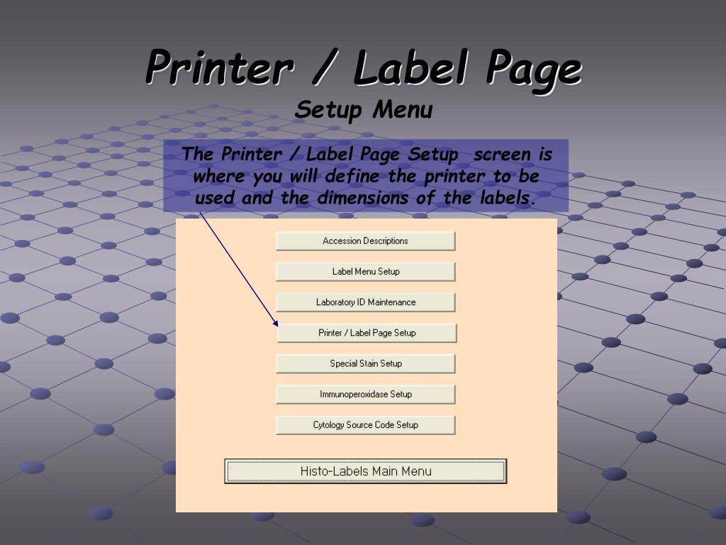 Printer / Label Page