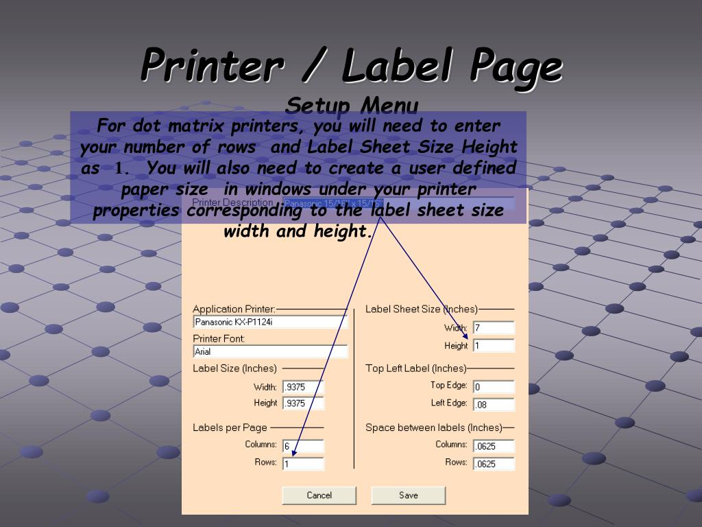 Printer / Label Page