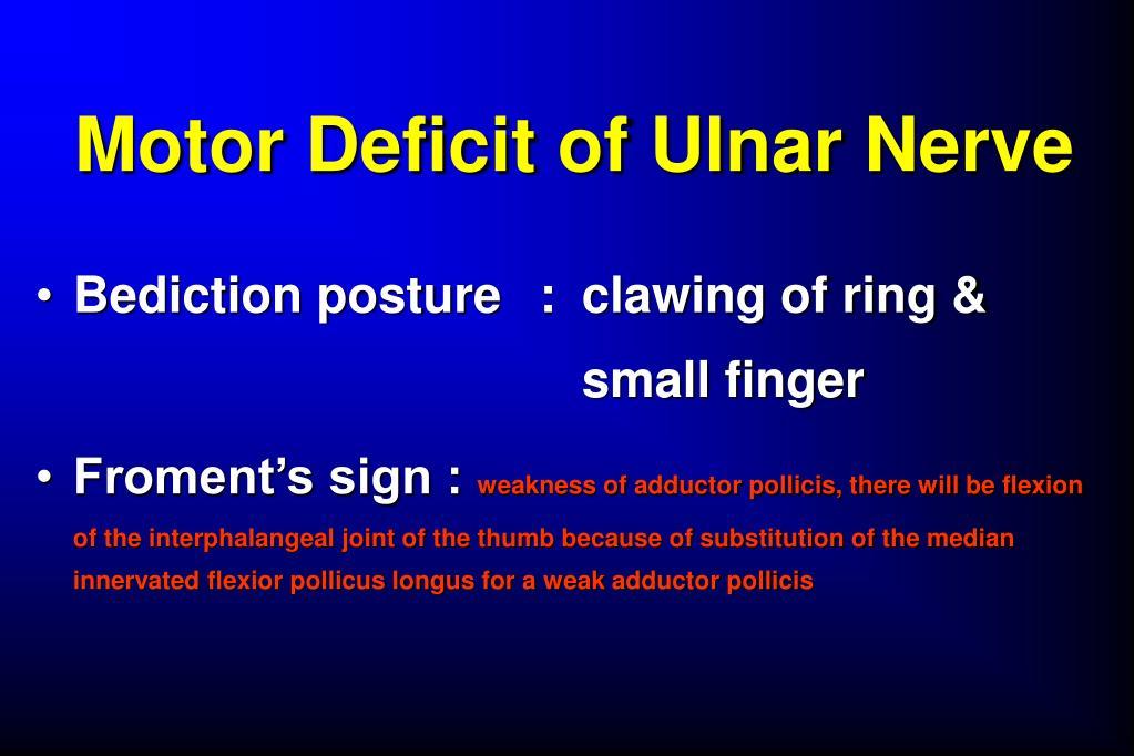 Motor Deficit of Ulnar Nerve