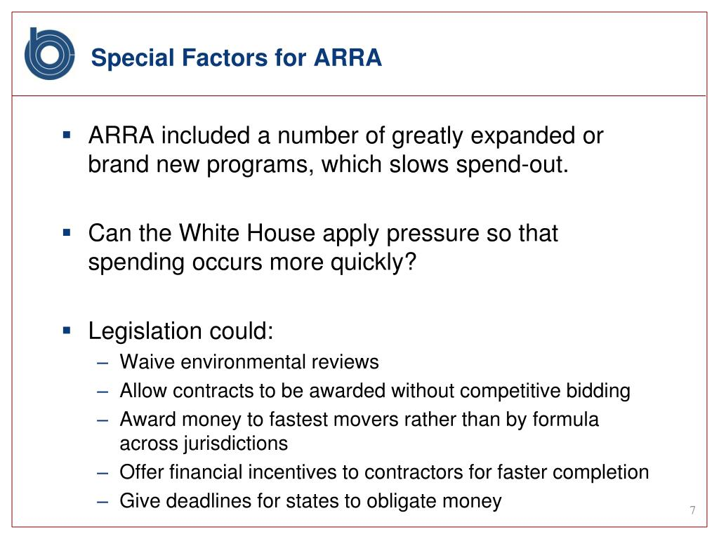 Special Factors for ARRA