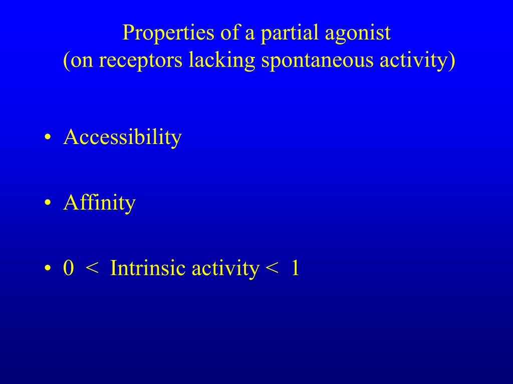 Properties of a partial agonist
