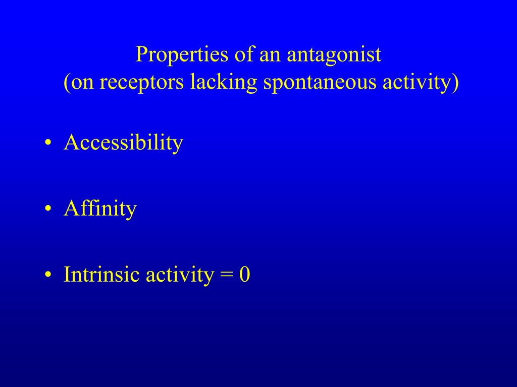 Properties of an antagonist