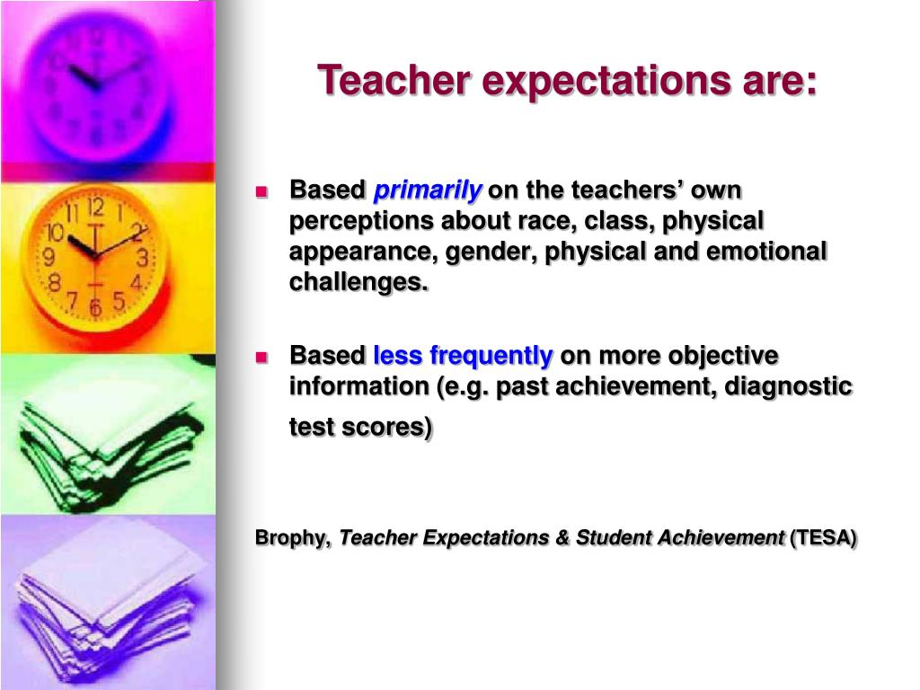 Teacher expectations are: