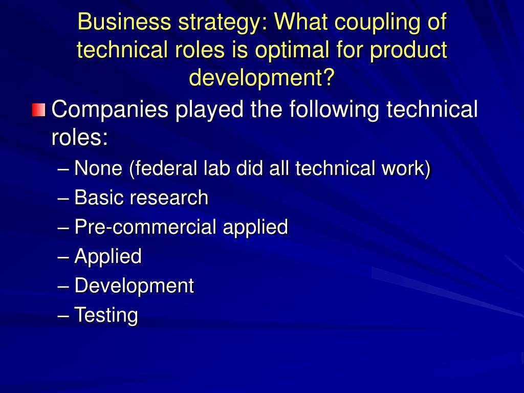 Business strategy: What coupling of technical roles is optimal for product development?