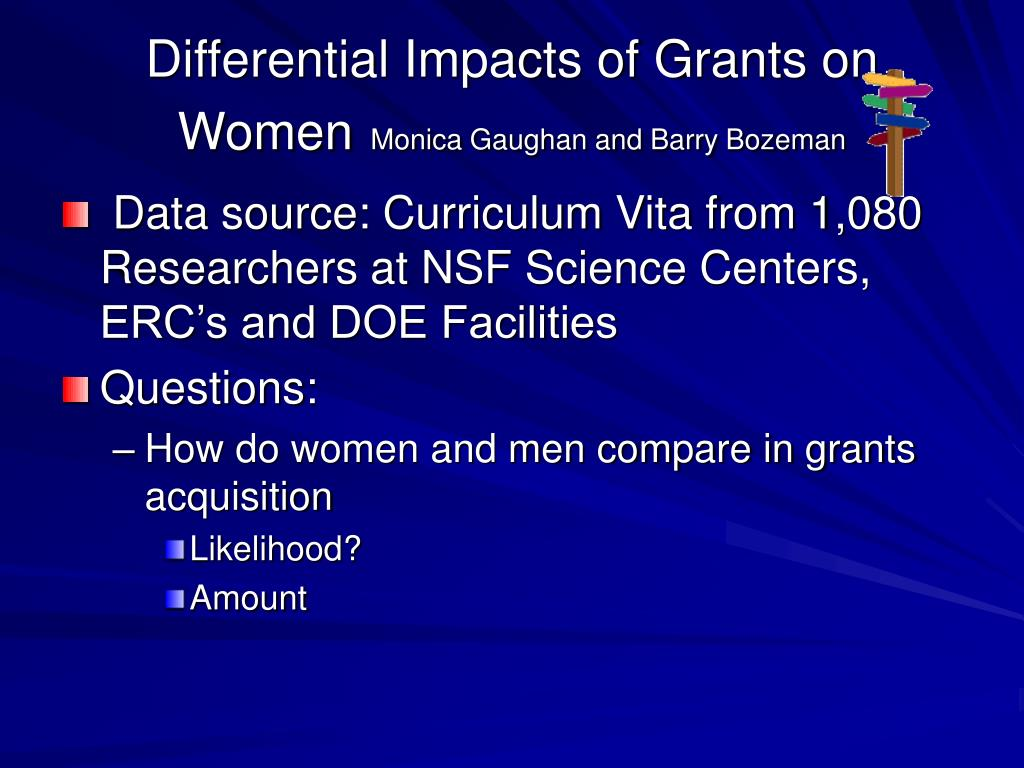 Differential Impacts of Grants on Women