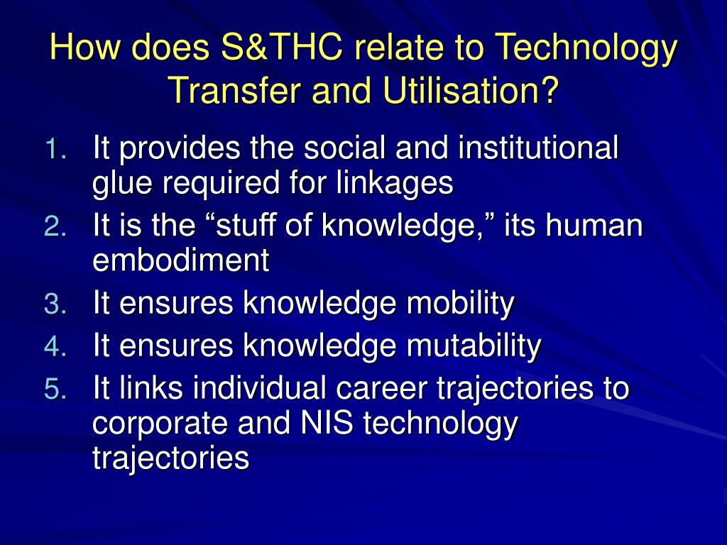 How does S&THC relate to Technology Transfer and Utilisation?