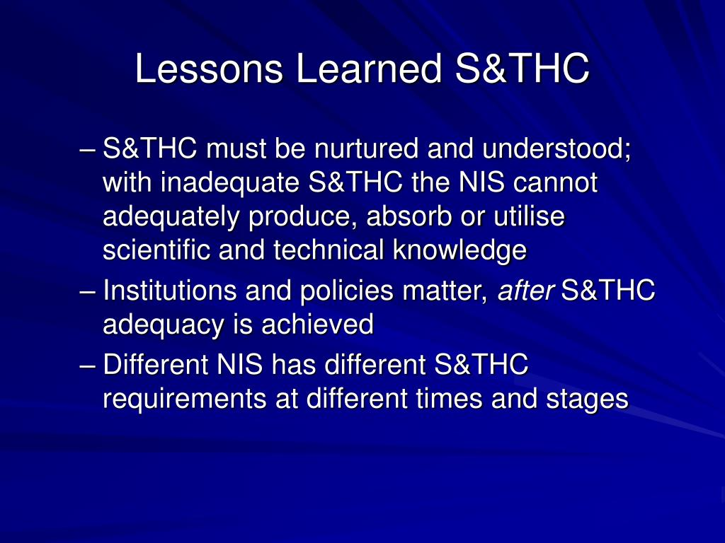 Lessons Learned S&THC