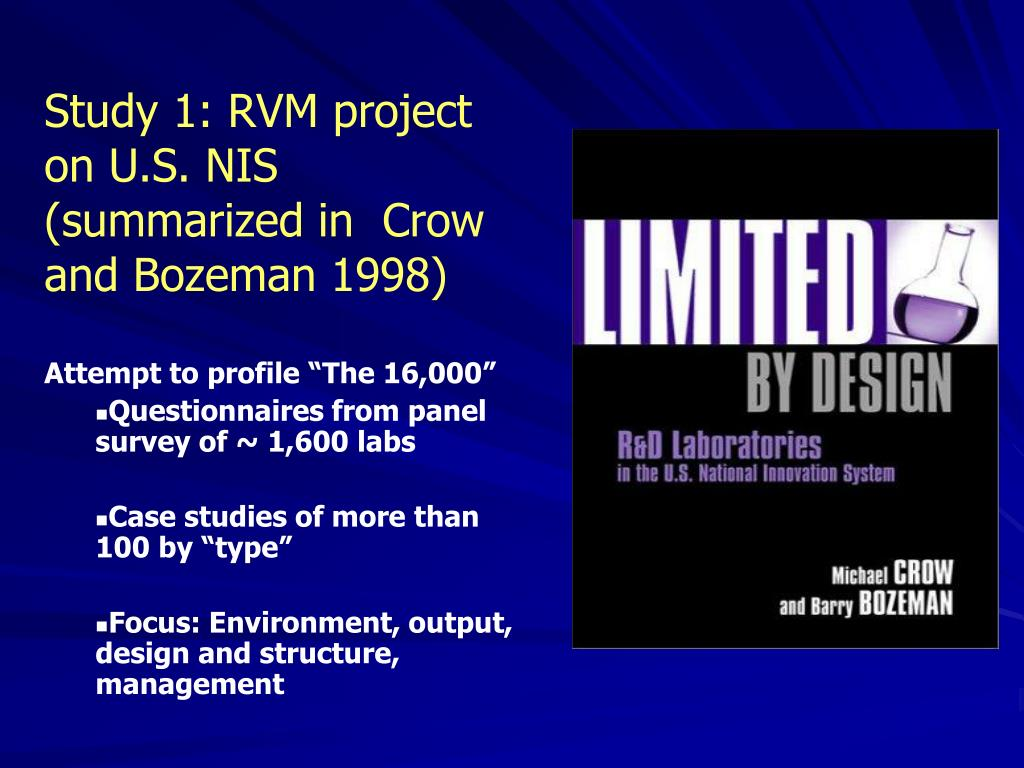Study 1: RVM project on U.S. NIS (summarized in  Crow and Bozeman 1998)