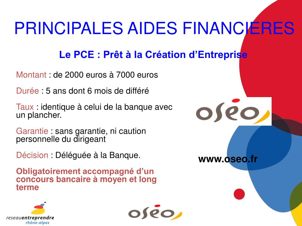PRINCIPALES AIDES FINANCIERES