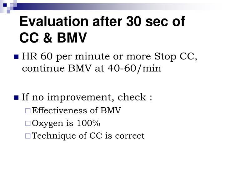 Evaluation after 30 sec of