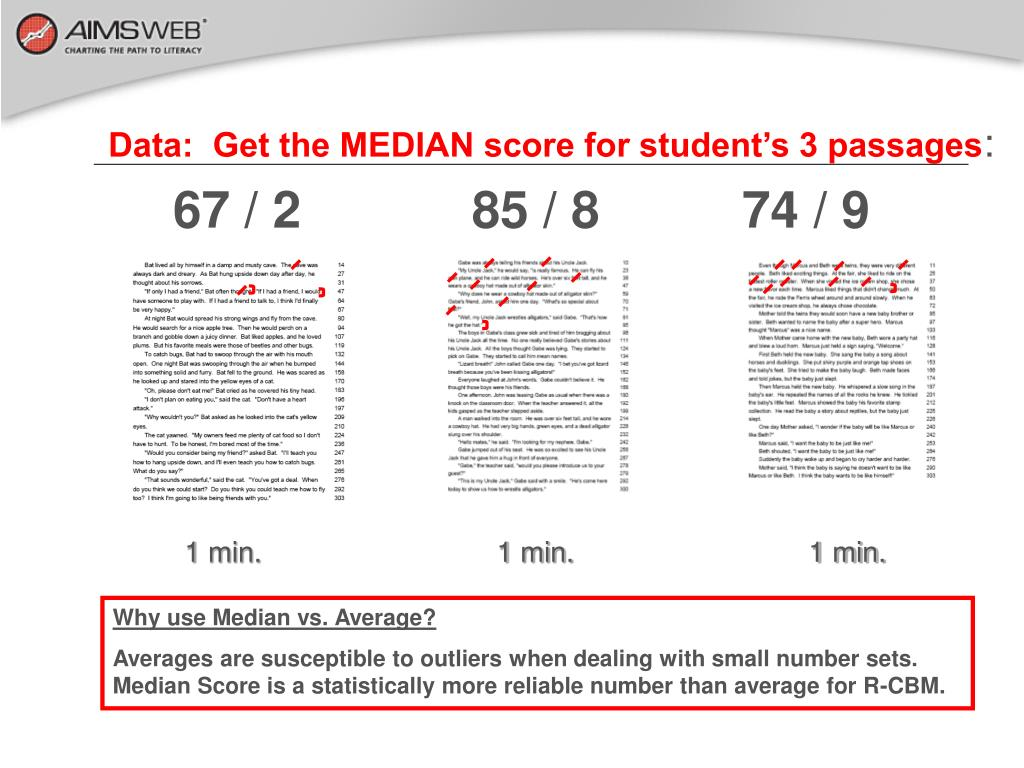 Data:  Get the MEDIAN score for student's 3 passages