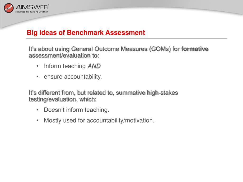 Big ideas of Benchmark Assessment