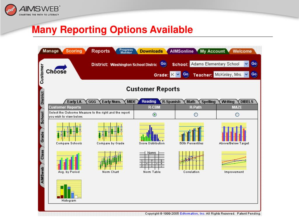 Many Reporting Options Available